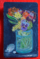 card aceo Vase with pansies