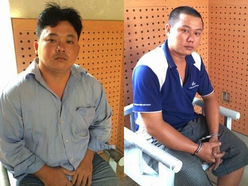 Lâm Thái An (bên trái) và Nguyễn Thành Đạt tại cơ quan công an.