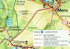 Kartenausschnitt: Grünes Herz Fahrradkarte Müritz-Nationalpark und Rheinsberger Land