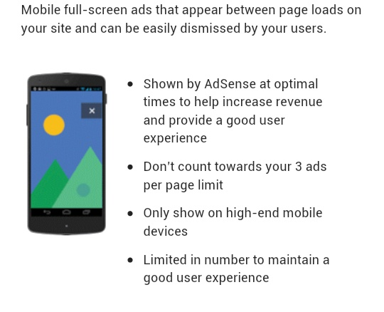 adsense new page level ads for blogger