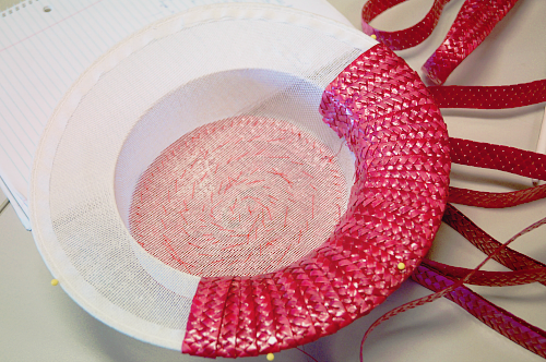 Making of a raspberry straw boater hat by Tanith Rowan Designs | Lavender & Twill