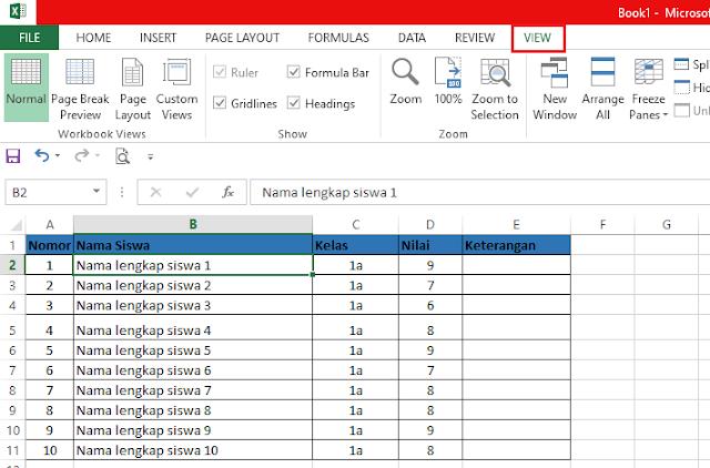 Cara Membuat Freeze pada Microsoft Excel