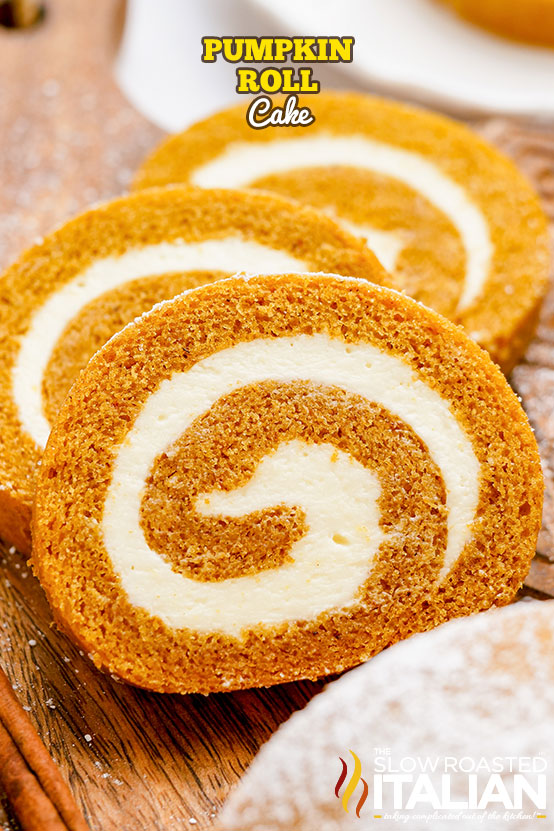 Pumpkin Roll Cake sliced and arranged on a board
