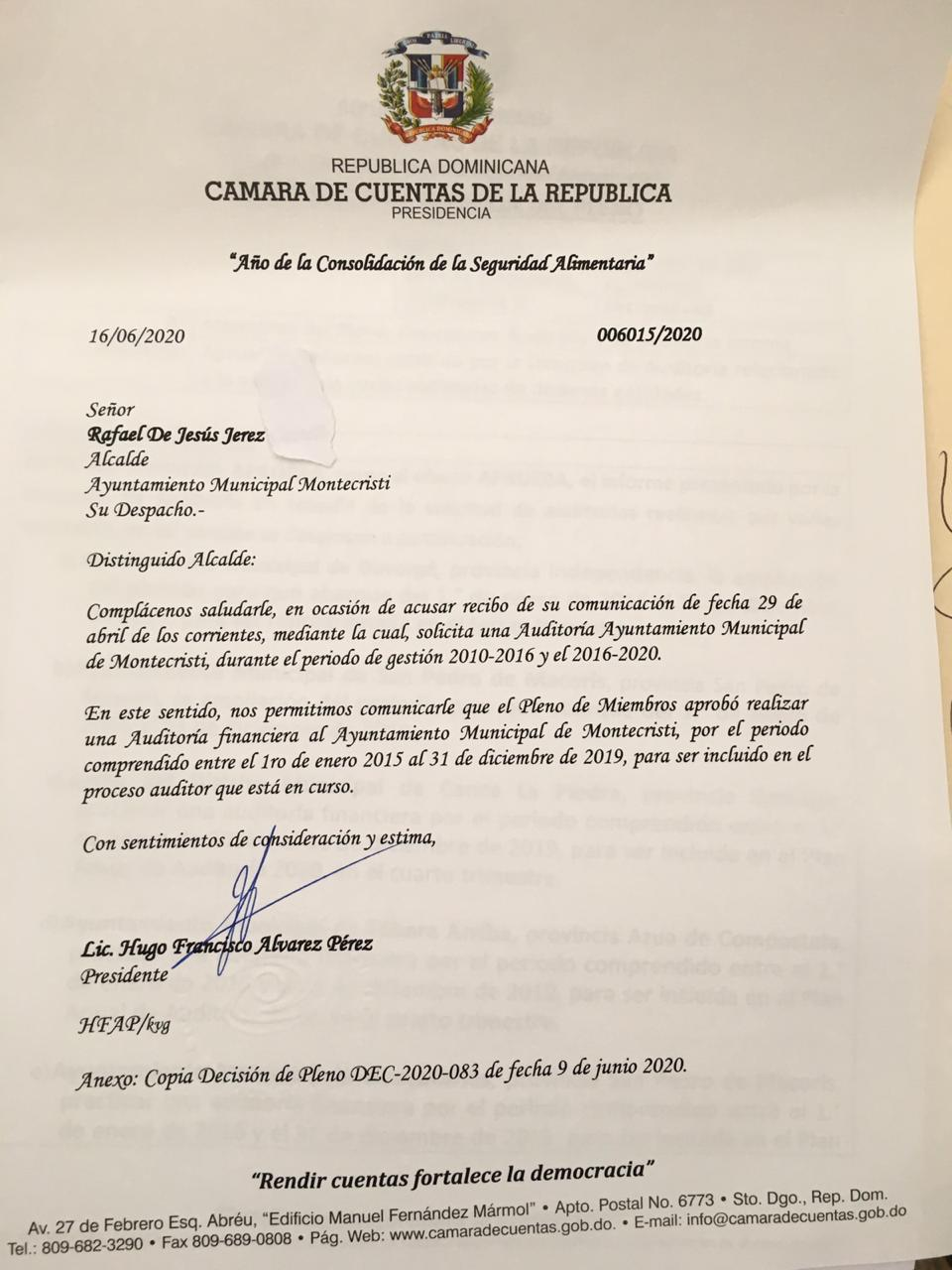 Montecristi: Cámara de cuentas aprueba realización de auditoría a solicitud del alcalde alcalde Jesús jerez