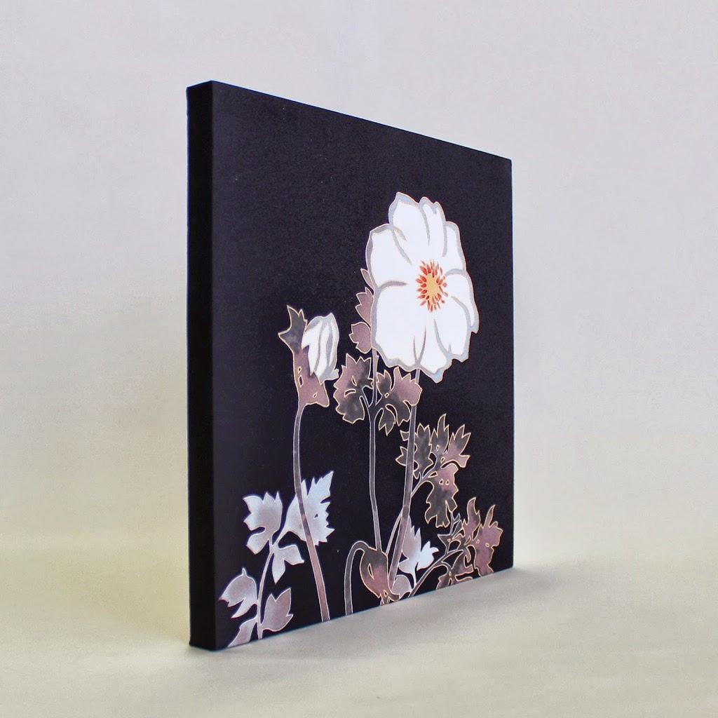 Hand-Painted Kimono Silk Panel - Anemone (black)