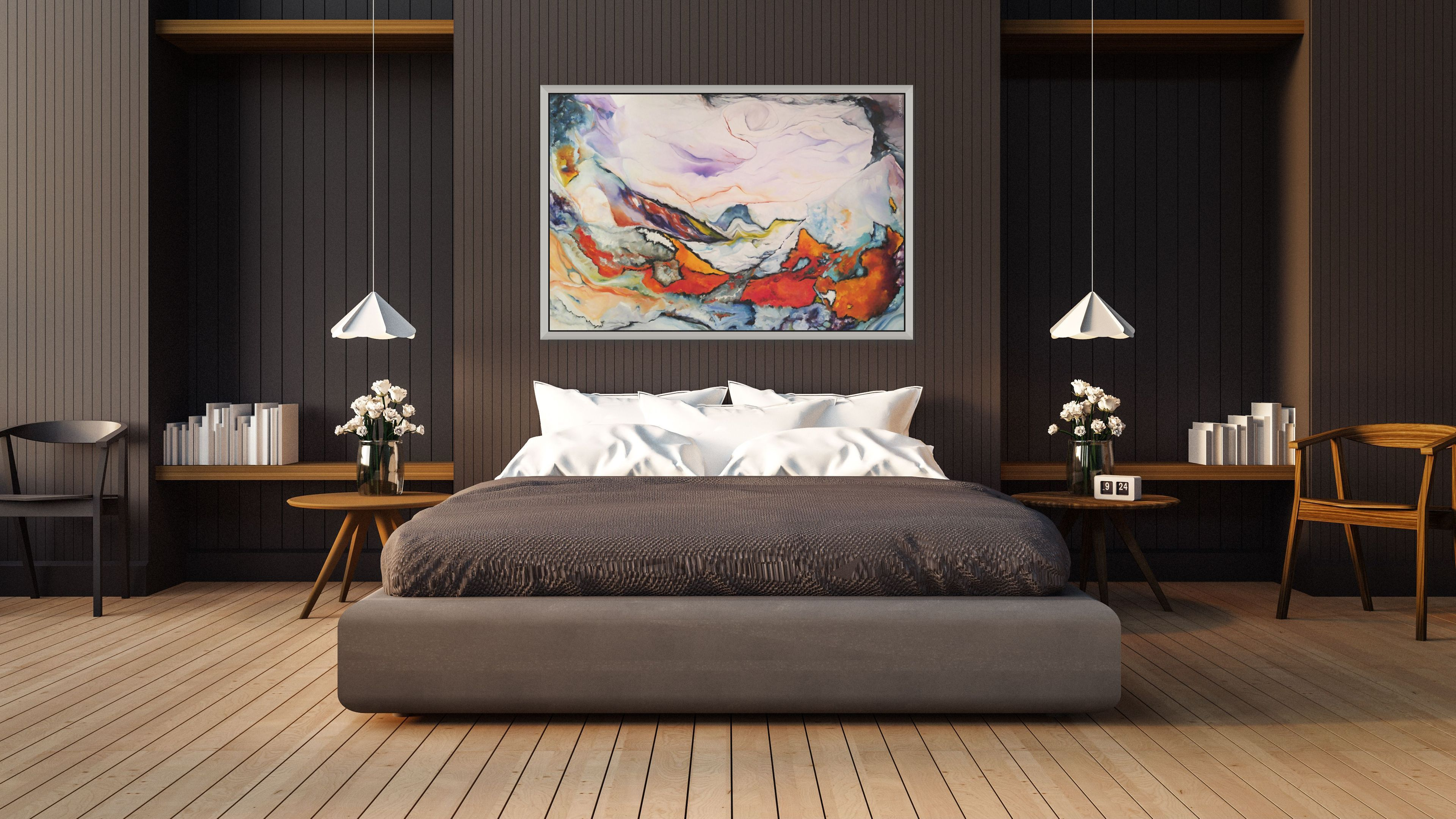 Emerging by Brenda Salamone hangs in dark-toned bedroom
