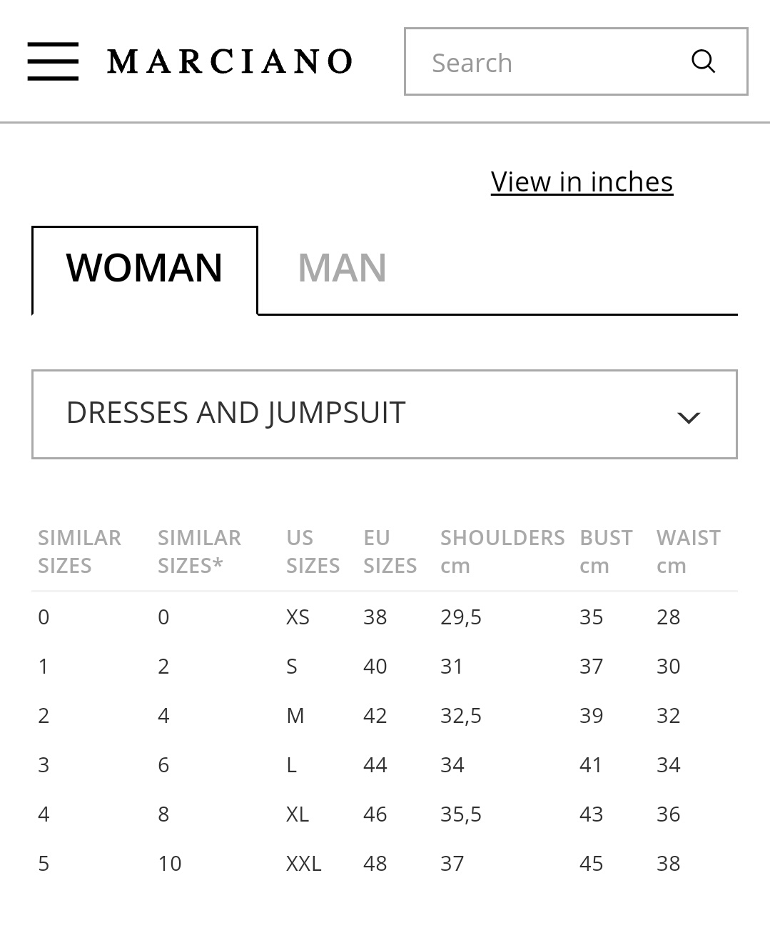 Gostan sikit guess by marciano women s clothing size chart