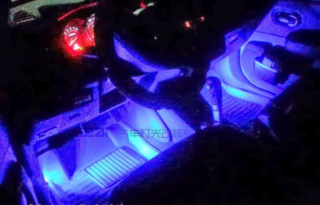 Luz interior decoracion lujo fiesta azul carro auto led - Decoracion interior coche ...