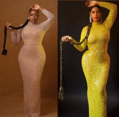 Actress Bisola recreates photo of Beyonce in a figure-hugging dress and long braid