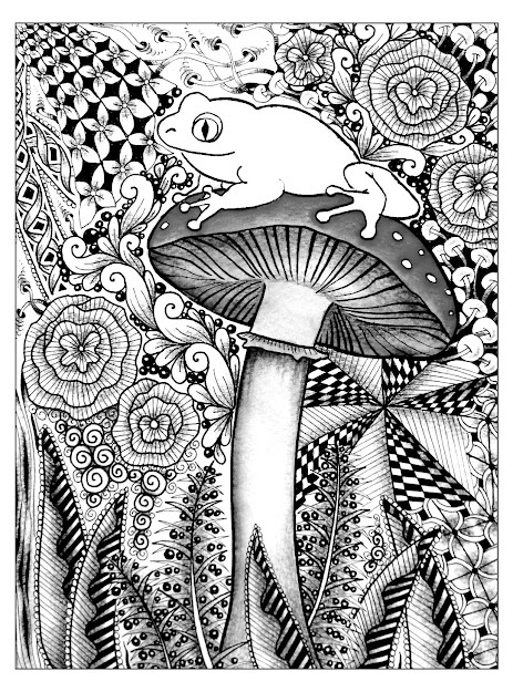 Free Coloring Pages Coloringforestfrog Cute Frog On The Top Of  Mushroom So Many Different Styles To Choose