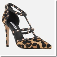 Dune Studded Leopard Print T Bar Court Shoe