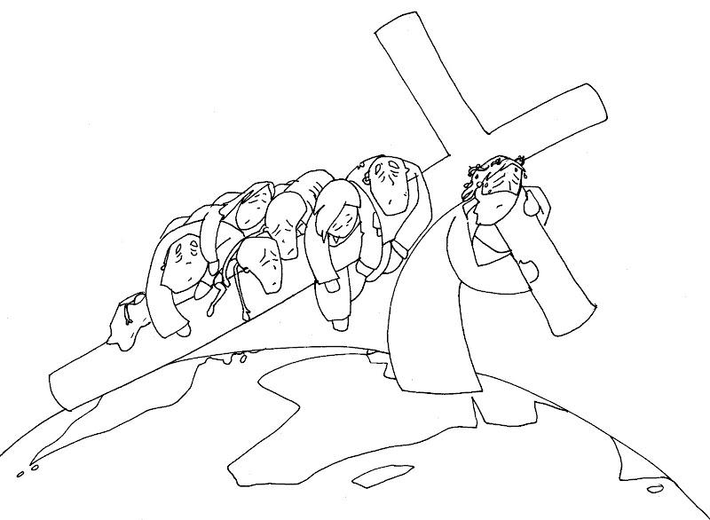 Imágenes de Jesús carga con tus pecados para colorear