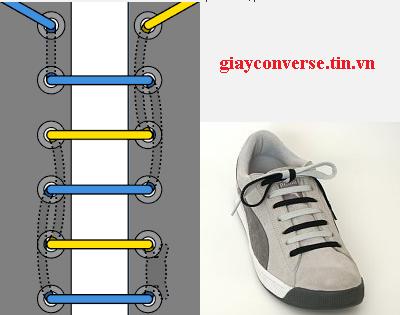 Cách buộc dây giày Converse kiểu phối hợp màu