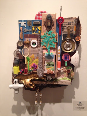 Mixed media collage at UForge Art Gallery in August 2015