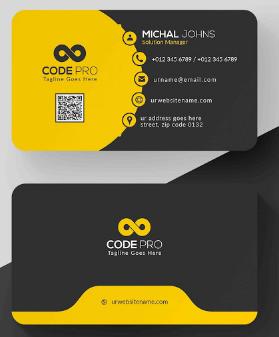 Membuat Kartu Nama Kombinasi Kuning Hitam dan Menarik | Templates Design Gratis