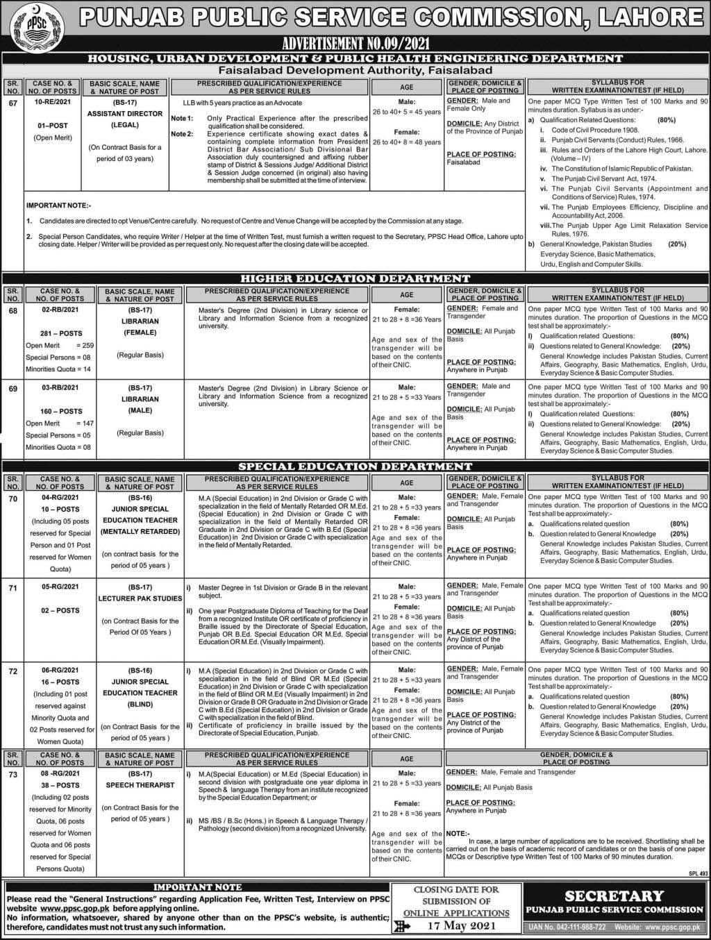New Jobs in PPSC Ad No. 92021 (Age 21-48) - Latest Punjab Public Service Commission Jobs Apply Online by www.newjobs.pk
