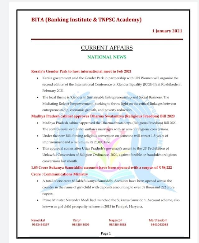 Banking Exam - Today Current Affairs  BITA Academy  ( 01 -  January  2021 )