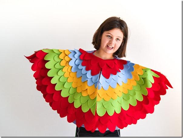 disfraz de pajaros, buhos cisnes con poncho (5)