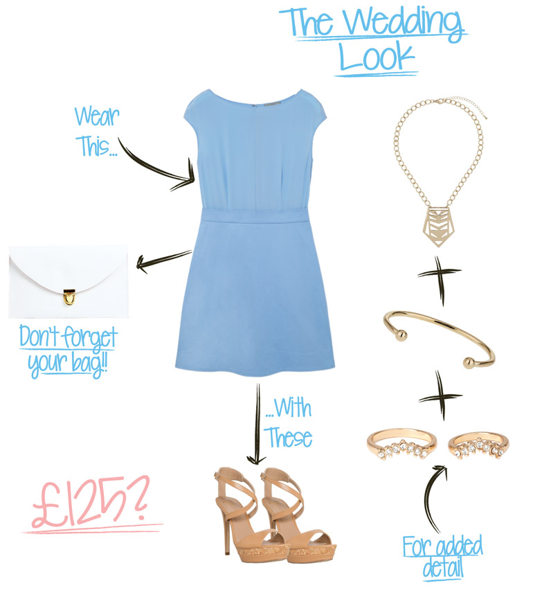 wedding outfit flat lay from the high street