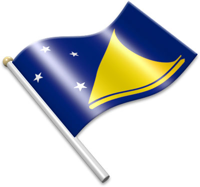 The Tokelauan flag on a flagpole clipart image