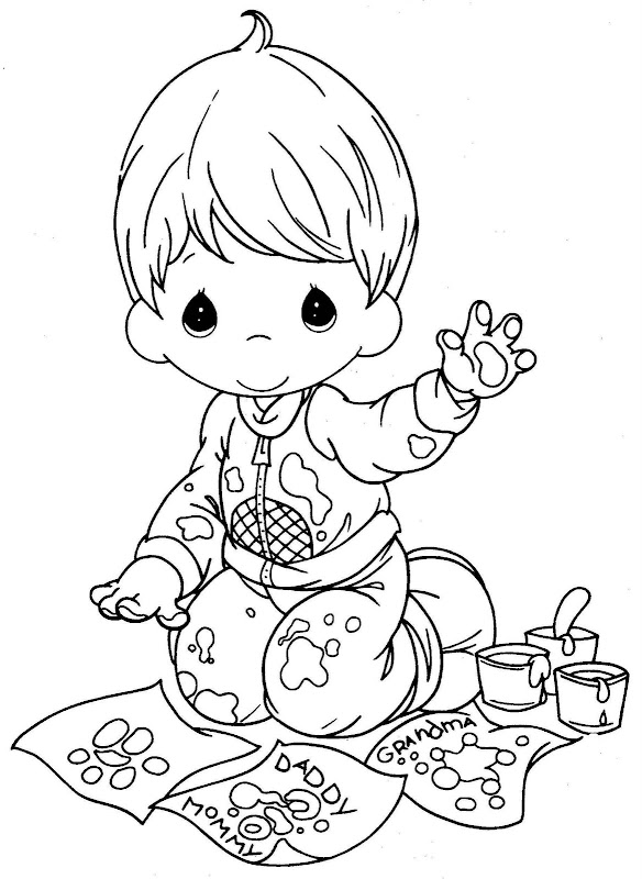 Kid painting with his hands free coloring pages for Precious moments angel coloring pages