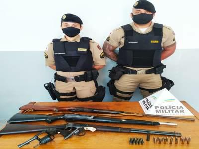 Polícia Militar apreende cinco armas de fogo e munições de diversos calibres em Divino