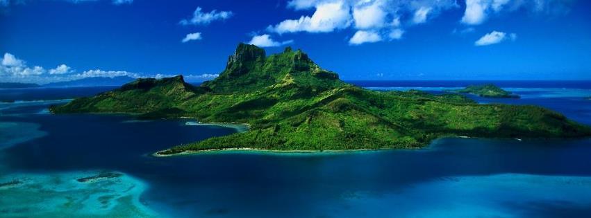 Denizin ortasındaki yeşil ada facebook kapak fotoğrafı