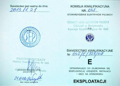 Uprawnienia elektryczne, świadectwo kwalifikacyjne SEP str 1