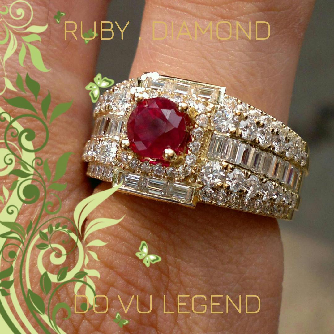 Nhẫn nam đá quý Ruby, xoàn tấm