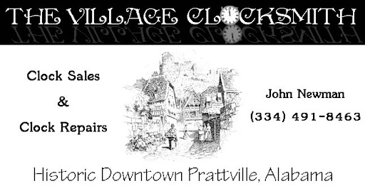 the village clocksmith in downtown prattville, alabama