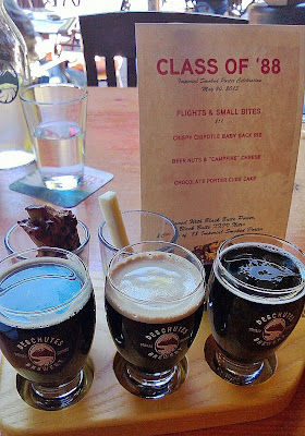Class of '88 Flights & Small Bites Imperial Smoked Porter, Black Butte XXIV and Black Butte Porter with crispy chipotle baby back rib beer nuts and Mt  Townsend Campfire cheese chocolate porter cube cake