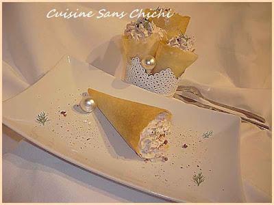 Cornet en feuille de brick à la mousse de thon
