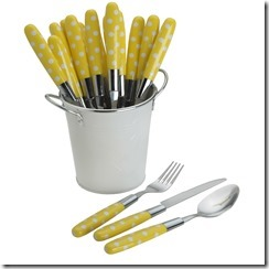 yellow flatware