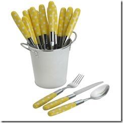 yellow flatware