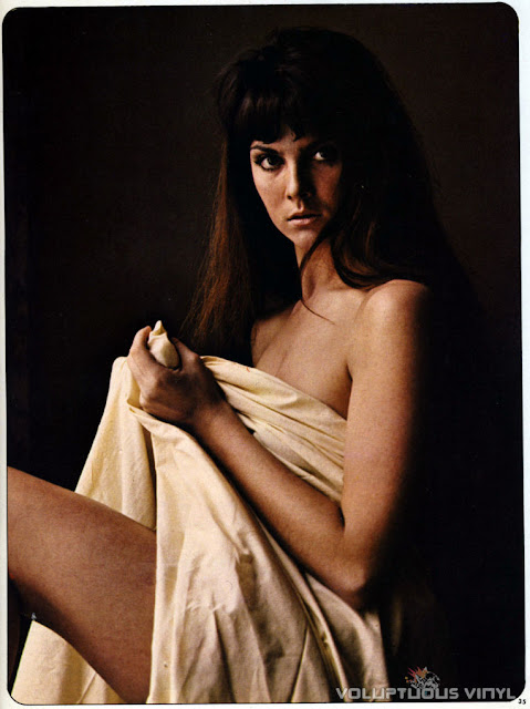 Young Caroline Munro nude cover in a sheet.