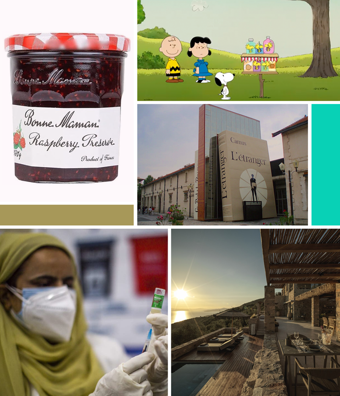 bonne maman marmelade raspberry preserve, Snoopy, Peanuts take care, reuse, Greece, travel, France, bibliotheque, library, bookish, India, help, Cover-19, vaccine, kindness
