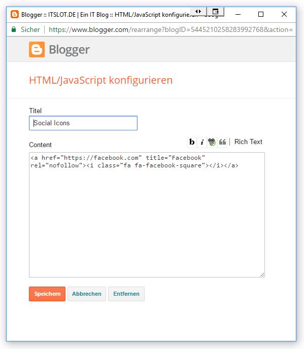 Icon Schrift in Blogger einbauen