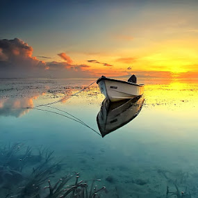 Lonely Boat by Agoes Antara - Transportation Boats ( bali, nature, waterscape, beach, sunrise, landscape, boat )