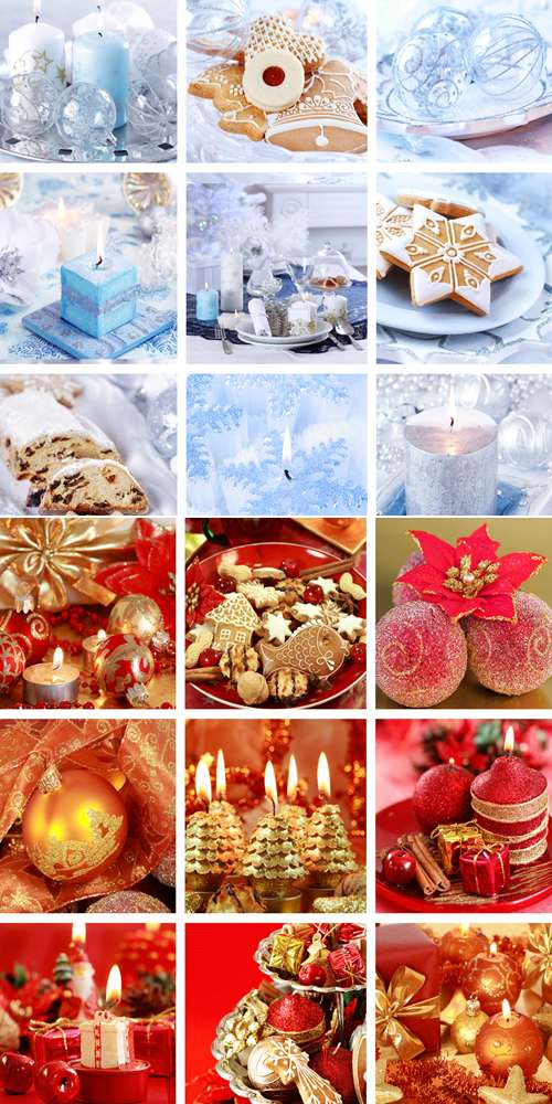 Stock Photo: Christmas collage in white and red