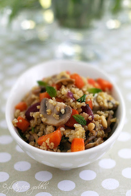 Gluten free millet is a wonderful grain perfect for a side dish with vegetables and fresh herbs