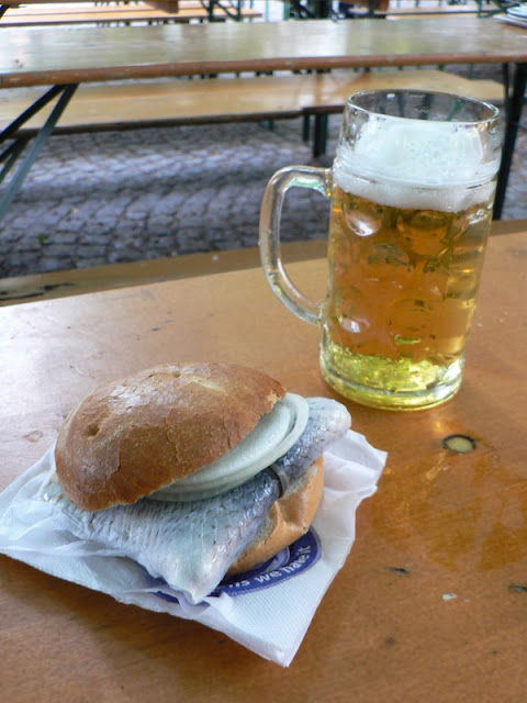 herring sandwich and liter glass of beer