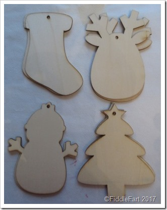 Wooden Poundland Blank Christmas Shapes