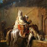 Théodore Chassériau - Deux cavaliers arabes arrêtés à une fontaine de Constantine romaine (1851)