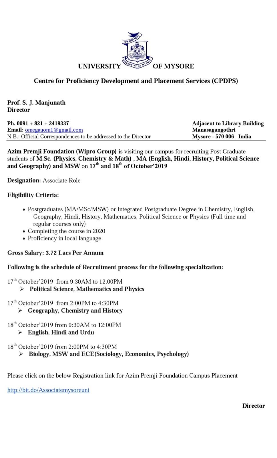 University of Mysore-Azim prameji Foundation Campus Recruitment Announcement