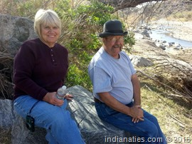 Dee Thomas and Jerry Hurley taking a break while on a four-wheeling adventure, Wickenburg, AZ, 2013