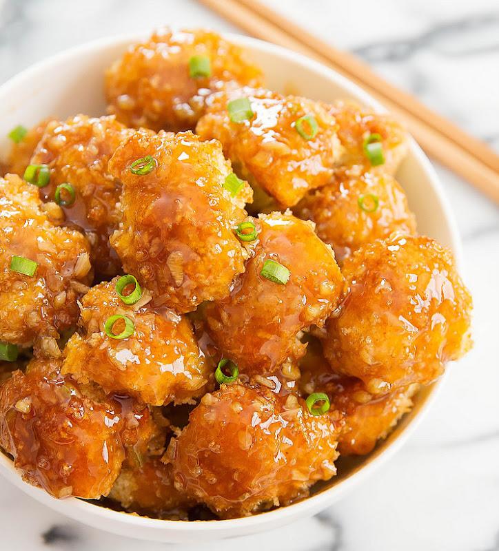 overhead photo of Honey Garlic Baked Cauliflower