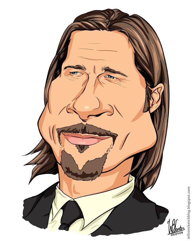 Cartoon caricature of Brad Pitt, using Krita.