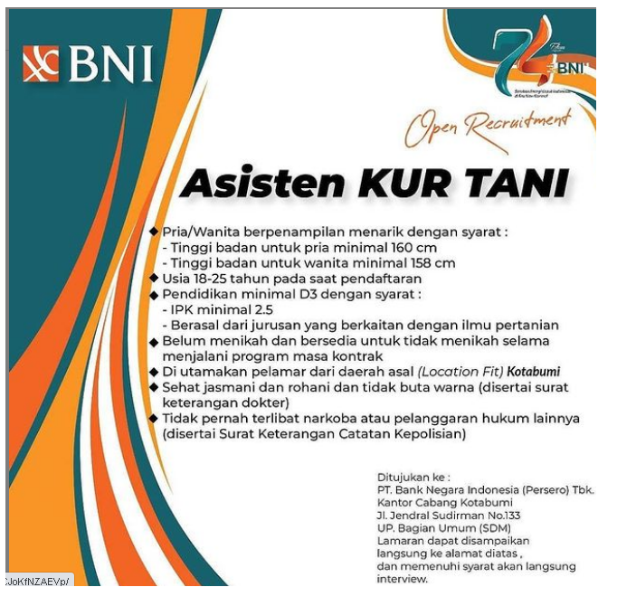 Rekrutmen Lowongan Kerja Bank Bumn Pt Bni Persero Januari 2021 Loker Bumn 45