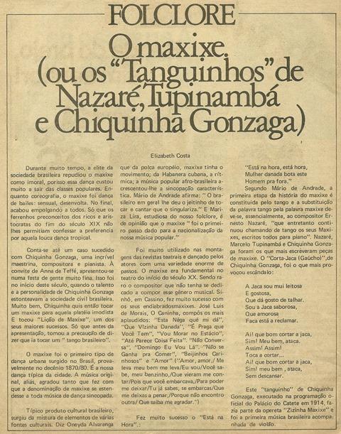 O maxixe - Ou os 'tanguinhos' de Nazar_, Tupinamb_ e Chiquinha Gonzaga - Elizabeth Costa - M_sica 1981-01