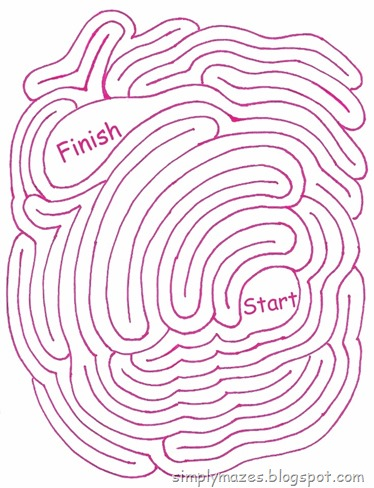 Maze Number 117: Oops!  A printable pink maze.